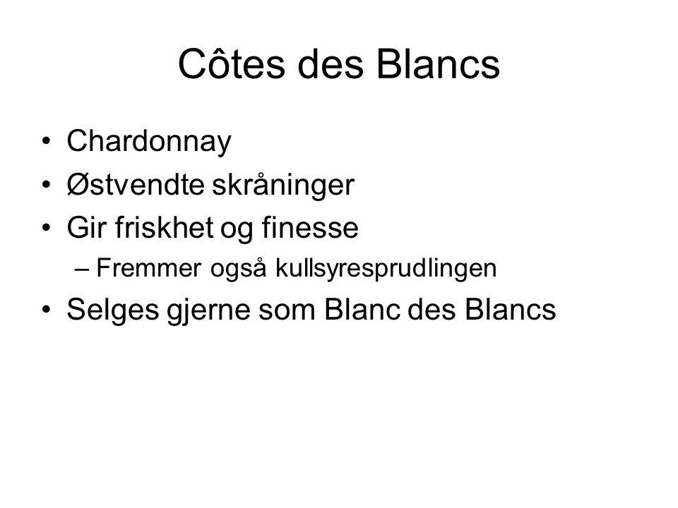 Côtes des Blancs Chardonnay Østvendte skråninger Gir friskhet og finesse –Fremmer også kullsyresprudlingen Selges gjerne som Blanc des Blancs