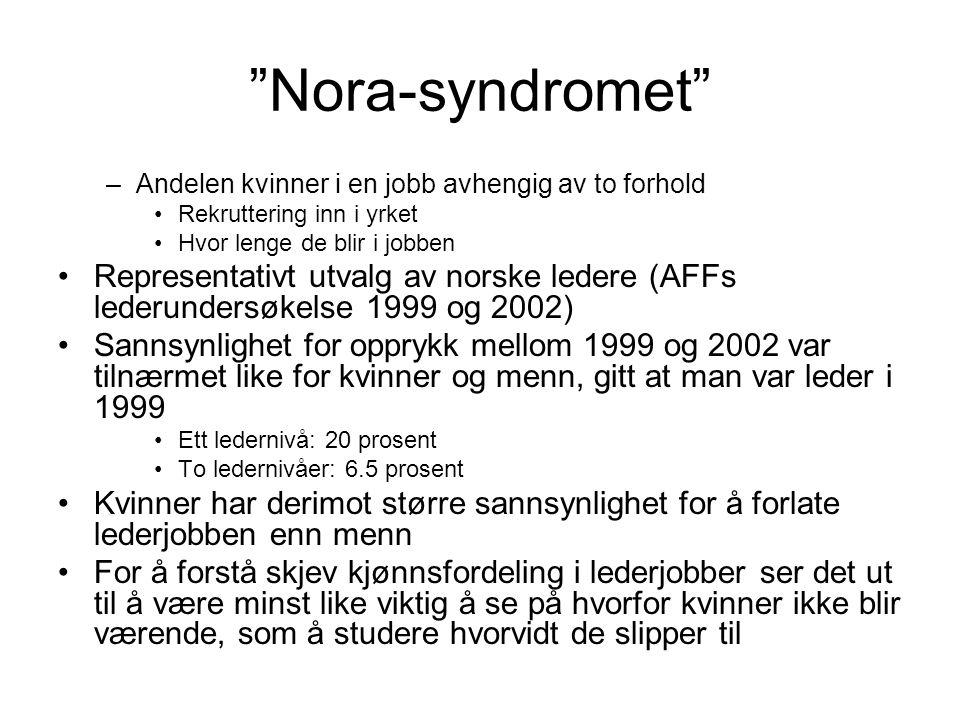 Nora-syndromet –Andelen kvinner i en jobb avhengig av to forhold Rekruttering inn i yrket Hvor lenge de blir i jobben Representativt utvalg av norske ledere (AFFs lederundersøkelse 1999 og 2002) Sannsynlighet for opprykk mellom 1999 og 2002 var tilnærmet like for kvinner og menn, gitt at man var leder i 1999 Ett ledernivå: 20 prosent To ledernivåer: 6.5 prosent Kvinner har derimot større sannsynlighet for å forlate lederjobben enn menn For å forstå skjev kjønnsfordeling i lederjobber ser det ut til å være minst like viktig å se på hvorfor kvinner ikke blir værende, som å studere hvorvidt de slipper til