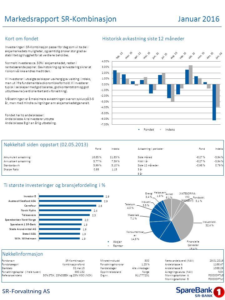 Markedsrapport SR-Kombinasjon Januar 2016 Kort om fondet Investeringer i SR-Kombinasjon passer for deg som vil ta del i aksjemarkedets muligheter, og samtidig ønsker stor grad av stabilitet og trygghet for at verdiene beholdes.
