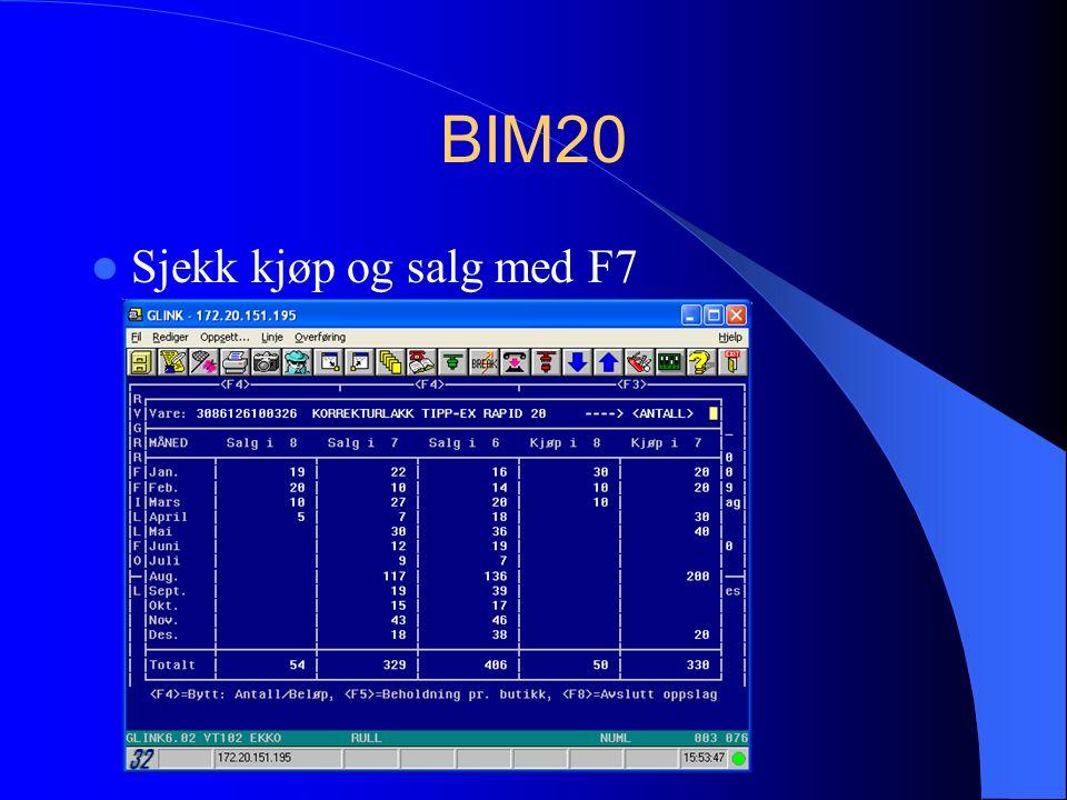 BIM20 Sjekk kjøp og salg med F7