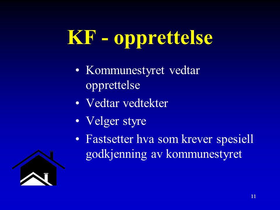 11 KF - opprettelse Kommunestyret vedtar opprettelse Vedtar vedtekter Velger styre Fastsetter hva som krever spesiell godkjenning av kommunestyret
