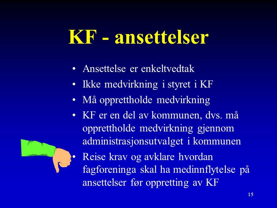 15 KF - ansettelser Ansettelse er enkeltvedtak Ikke medvirkning i styret i KF Må opprettholde medvirkning KF er en del av kommunen, dvs.