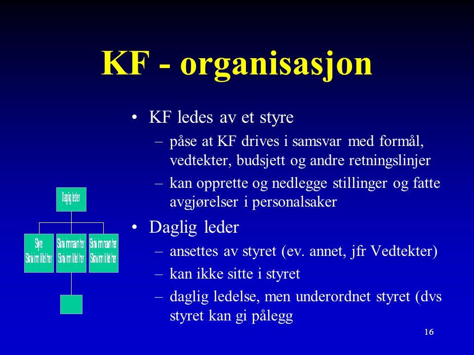 16 KF - organisasjon KF ledes av et styre –påse at KF drives i samsvar med formål, vedtekter, budsjett og andre retningslinjer –kan opprette og nedlegge stillinger og fatte avgjørelser i personalsaker Daglig leder –ansettes av styret (ev.