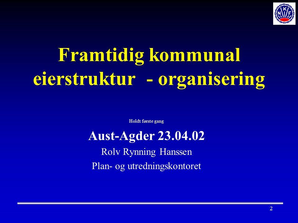 2 Framtidig kommunal eierstruktur - organisering Holdt første gang Aust-Agder 23.04.02 Rolv Rynning Hanssen Plan- og utredningskontoret
