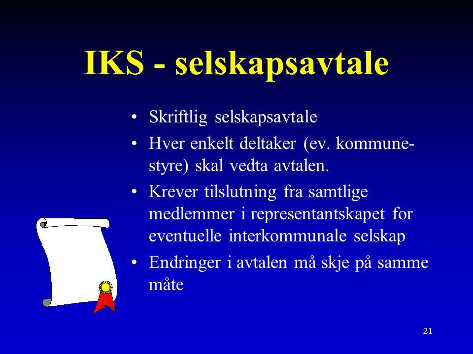 21 IKS - selskapsavtale Skriftlig selskapsavtale Hver enkelt deltaker (ev.