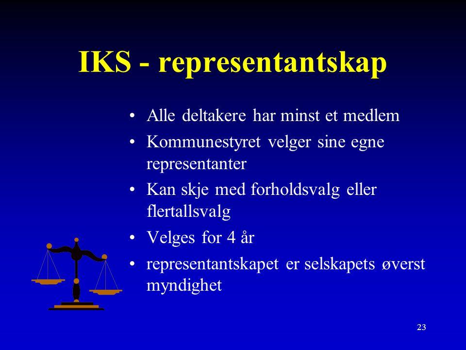 23 IKS - representantskap Alle deltakere har minst et medlem Kommunestyret velger sine egne representanter Kan skje med forholdsvalg eller flertallsvalg Velges for 4 år representantskapet er selskapets øverst myndighet