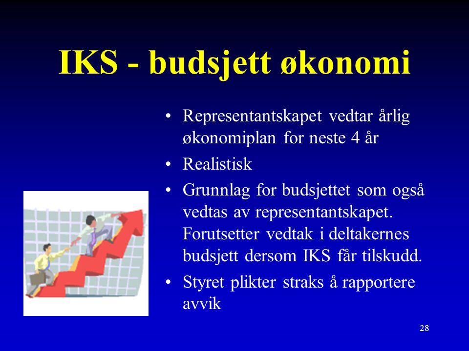 28 IKS - budsjett økonomi Representantskapet vedtar årlig økonomiplan for neste 4 år Realistisk Grunnlag for budsjettet som også vedtas av representantskapet.