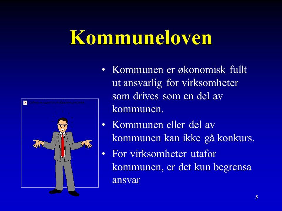 5 Kommuneloven Kommunen er økonomisk fullt ut ansvarlig for virksomheter som drives som en del av kommunen.