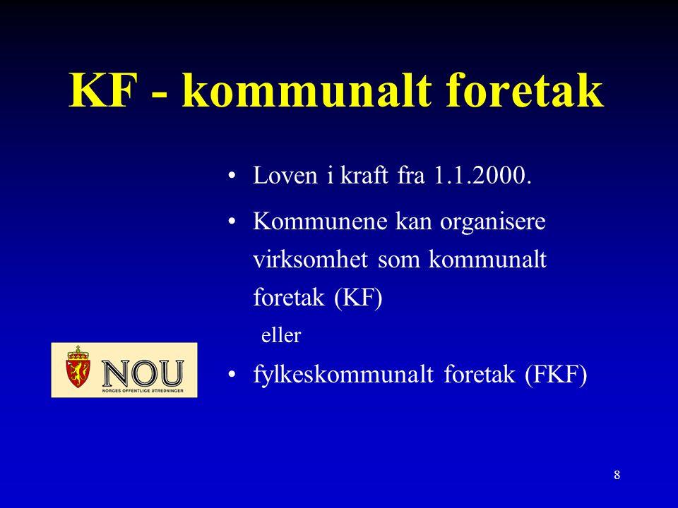 8 KF - kommunalt foretak Loven i kraft fra 1.1.2000.