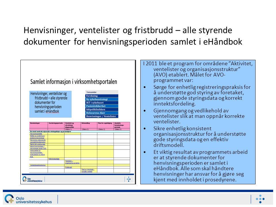 Henvisninger, ventelister og fristbrudd – alle styrende dokumenter for henvisningsperioden samlet i eHåndbok I 2011 ble et program for områdene Aktivitet, ventelister og organisasjonsstruktur (AVO) etablert.