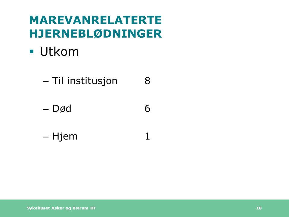 Sykehuset Asker og Bærum HF 18 MAREVANRELATERTE HJERNEBLØDNINGER  Utkom – Til institusjon8 – Død6 – Hjem1
