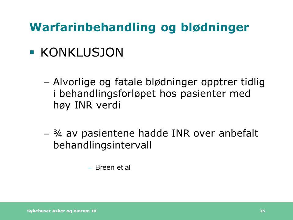 Sykehuset Asker og Bærum HF 25 Warfarinbehandling og blødninger  KONKLUSJON – Alvorlige og fatale blødninger opptrer tidlig i behandlingsforløpet hos