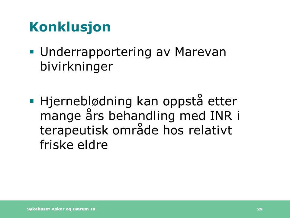 Sykehuset Asker og Bærum HF 29 Konklusjon  Underrapportering av Marevan bivirkninger  Hjerneblødning kan oppstå etter mange års behandling med INR i terapeutisk område hos relativt friske eldre