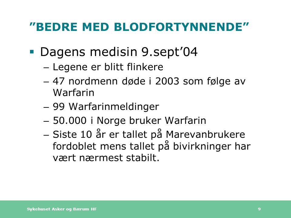 Sykehuset Asker og Bærum HF 9 BEDRE MED BLODFORTYNNENDE  Dagens medisin 9.sept'04 – Legene er blitt flinkere – 47 nordmenn døde i 2003 som følge av Warfarin – 99 Warfarinmeldinger – 50.000 i Norge bruker Warfarin – Siste 10 år er tallet på Marevanbrukere fordoblet mens tallet på bivirkninger har vært nærmest stabilt.