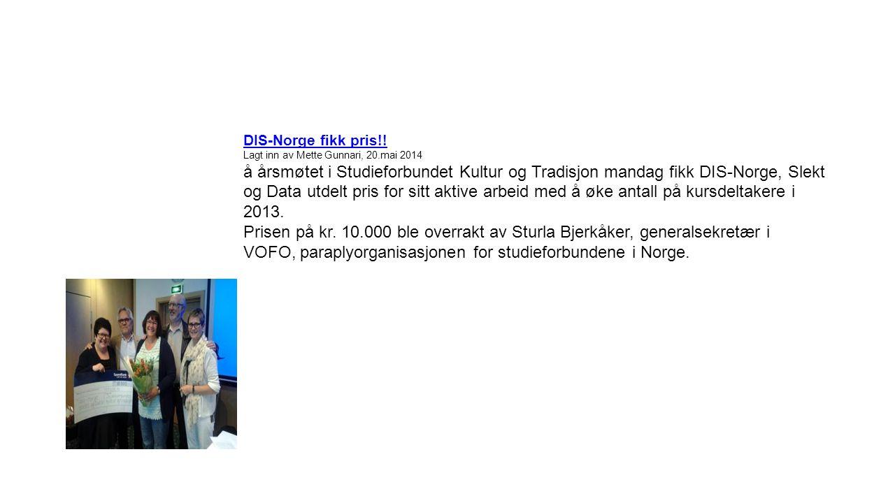 DIS-Norge fikk pris!.