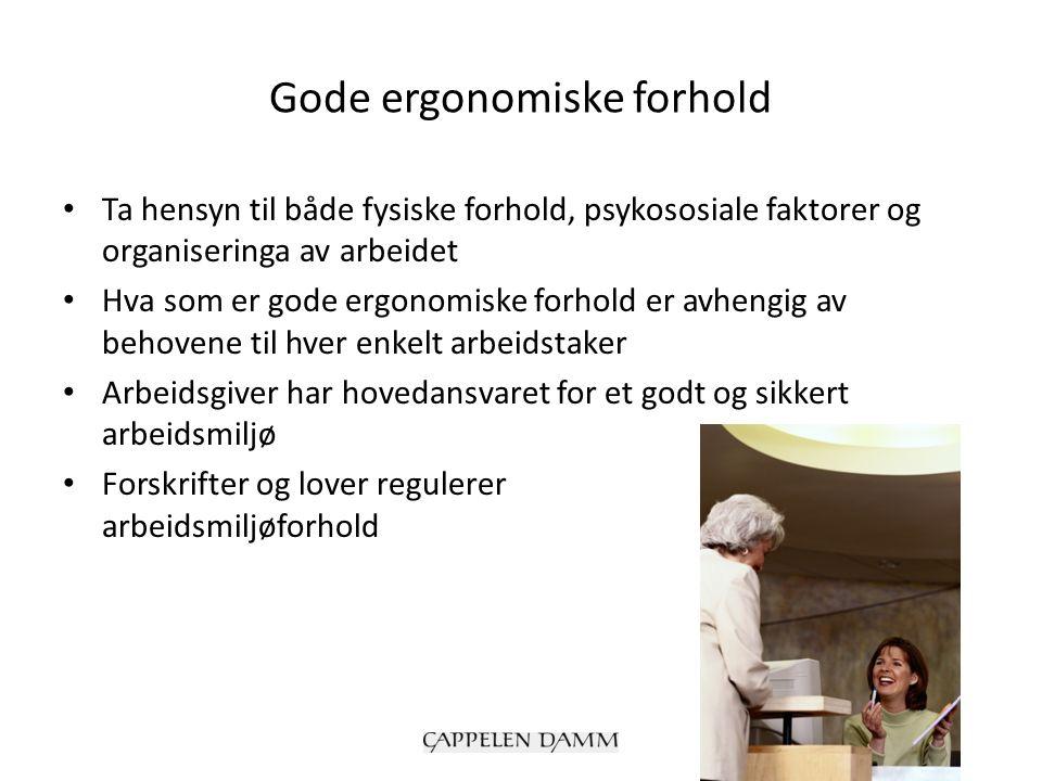 Gode ergonomiske forhold Ta hensyn til både fysiske forhold, psykososiale faktorer og organiseringa av arbeidet Hva som er gode ergonomiske forhold er