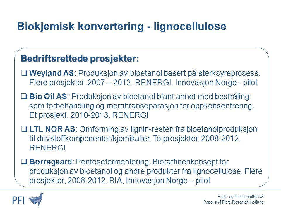 Papir- og fiberinstituttet AS Paper and Fibre Research Institute Biokjemisk konvertering - lignocellulose Bedriftsrettede prosjekter:  Weyland AS: Produksjon av bioetanol basert på sterksyreprosess.