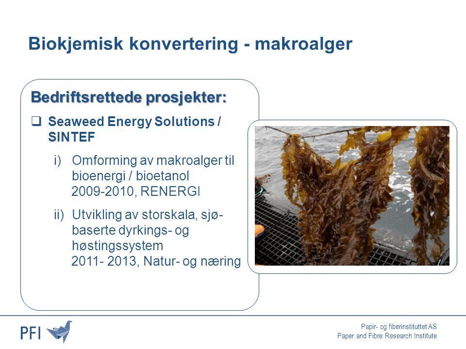 Papir- og fiberinstituttet AS Paper and Fibre Research Institute Biokjemisk konvertering - makroalger Bedriftsrettede prosjekter:  Seaweed Energy Solutions / SINTEF i)Omforming av makroalger til bioenergi / bioetanol 2009-2010, RENERGI ii)Utvikling av storskala, sjø- baserte dyrkings- og høstingssystem 2011- 2013, Natur- og næring