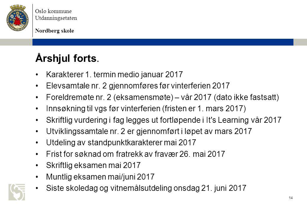 Oslo kommune Utdanningsetaten Nordberg skole Årshjul forts.