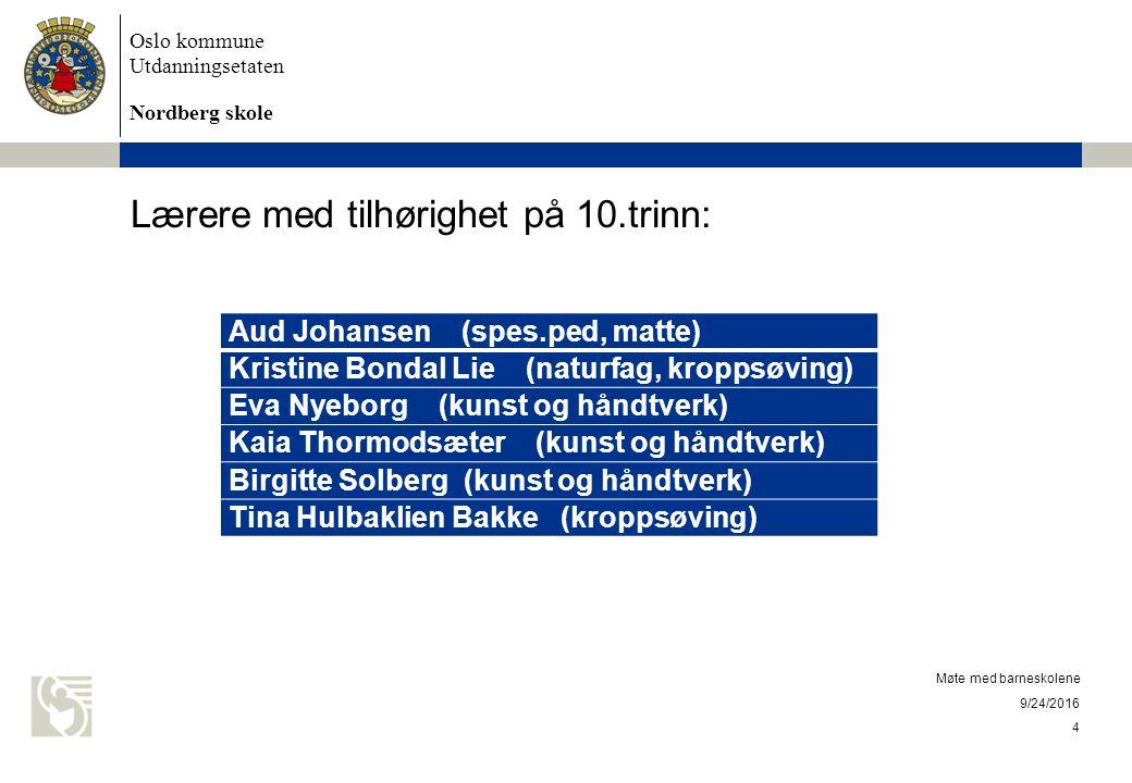 Oslo kommune Utdanningsetaten Nordberg skole Klasserom Klasse 10a – rom 18 – 3.
