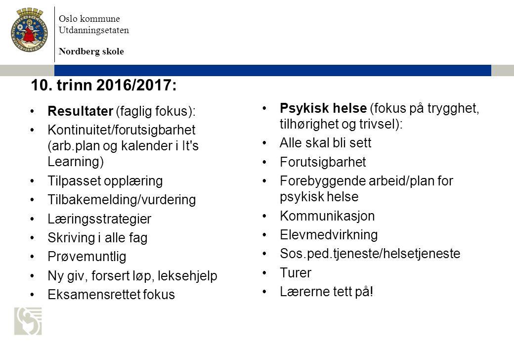 Oslo kommune Utdanningsetaten Nordberg skole Verdt å merke seg: Reviderte planer i enkelte fag Søknad om permisjoner Skolepsykolog Oppbevaring av verdisaker i gymtimene – i elevskap.