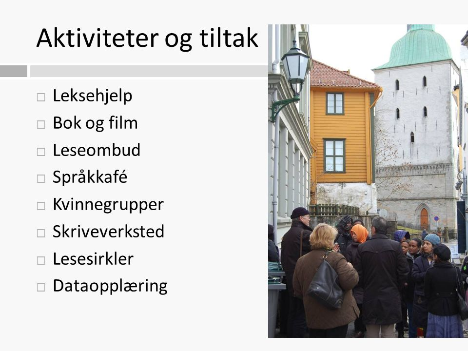 Aktiviteter og tiltak  Leksehjelp  Bok og film  Leseombud  Språkkafé  Kvinnegrupper  Skriveverksted  Lesesirkler  Dataopplæring