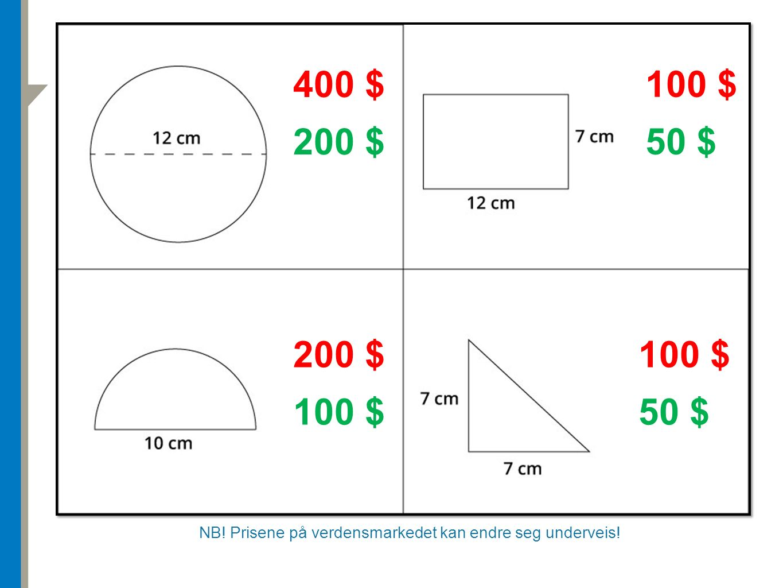 NB! Prisene på verdensmarkedet kan endre seg underveis! 400 $ 200 $ 100 $ 50 $ 100 $ 50 $