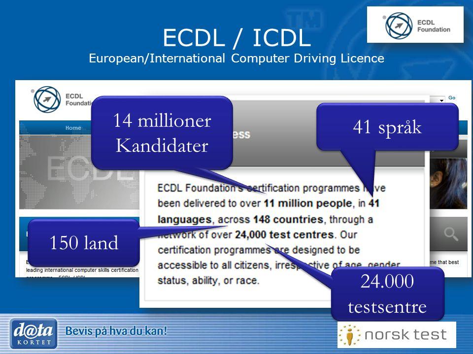 11 ECDL / ICDL European/International Computer Driving Licence 14 millioner Kandidater 41 språk 150 land 24.000 testsentre