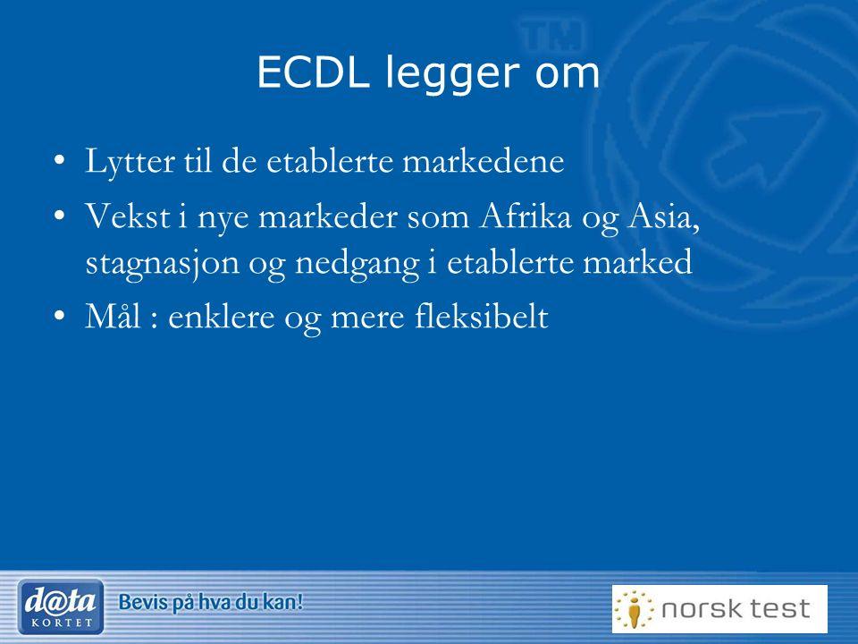 12 ECDL legger om Lytter til de etablerte markedene Vekst i nye markeder som Afrika og Asia, stagnasjon og nedgang i etablerte marked Mål : enklere og mere fleksibelt