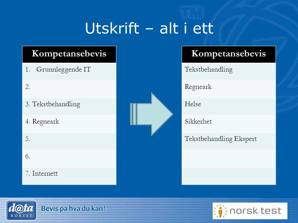 Utskrift – alt i ett Kompetansebevis 1.Grunnleggende IT 2.