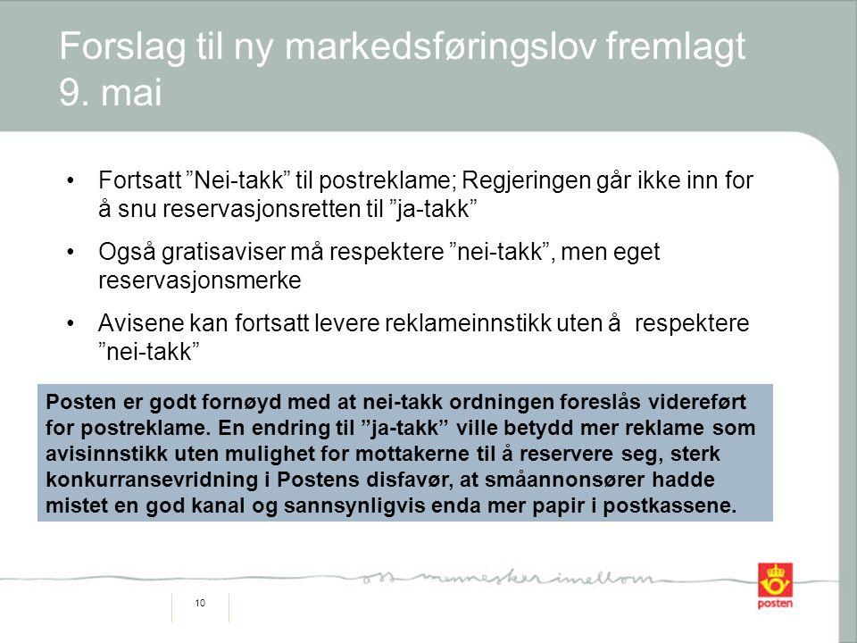"""10 Forslag til ny markedsføringslov fremlagt 9. mai Fortsatt """"Nei-takk"""" til postreklame; Regjeringen går ikke inn for å snu reservasjonsretten til """"ja"""