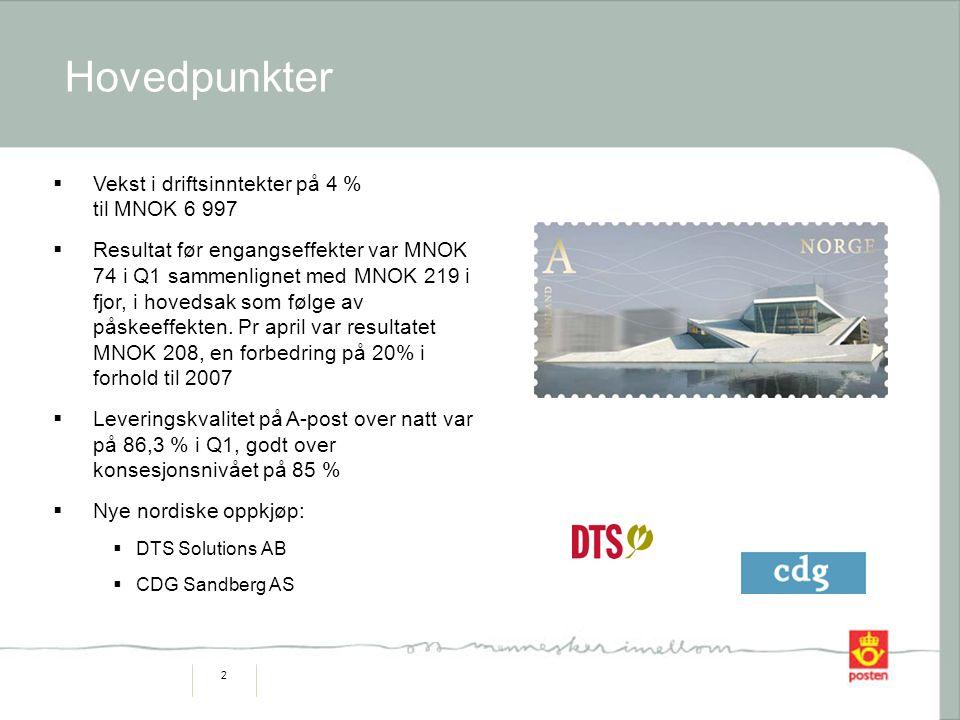 2 Hovedpunkter  Vekst i driftsinntekter på 4 % til MNOK 6 997  Resultat før engangseffekter var MNOK 74 i Q1 sammenlignet med MNOK 219 i fjor, i hovedsak som følge av påskeeffekten.