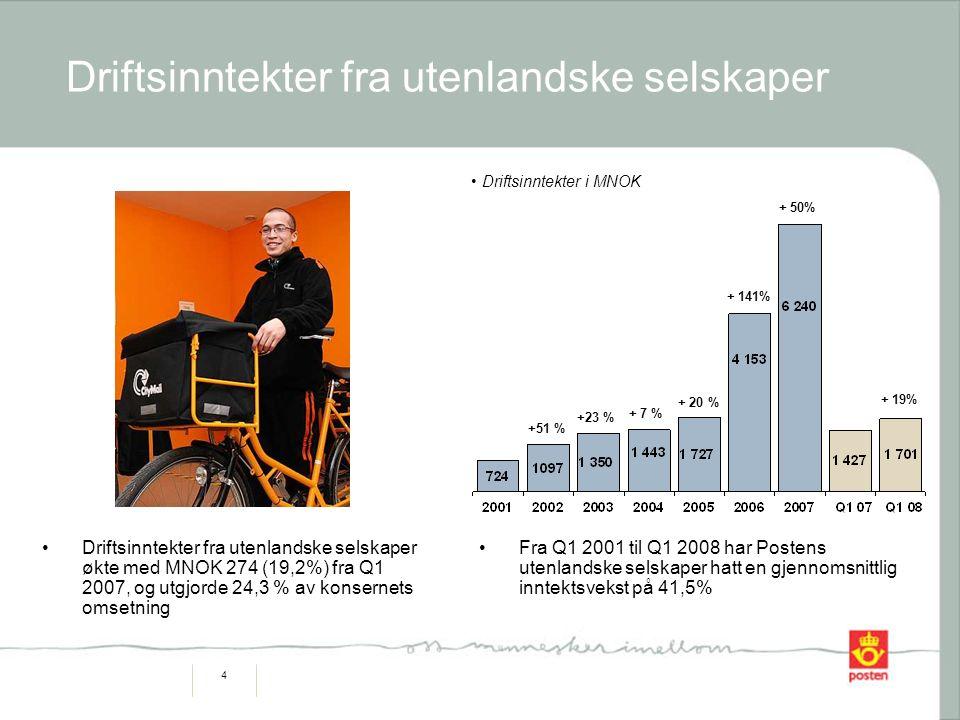 4 Driftsinntekter fra utenlandske selskaper Driftsinntekter fra utenlandske selskaper økte med MNOK 274 (19,2%) fra Q1 2007, og utgjorde 24,3 % av kon