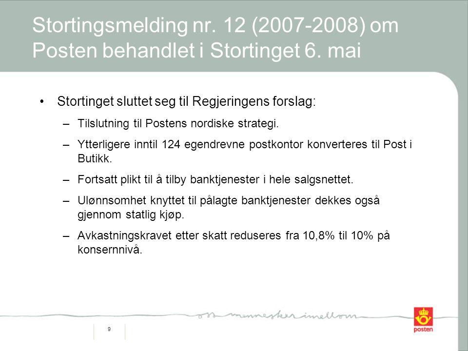 9 Stortingsmelding nr. 12 (2007-2008) om Posten behandlet i Stortinget 6. mai Stortinget sluttet seg til Regjeringens forslag: –Tilslutning til Posten