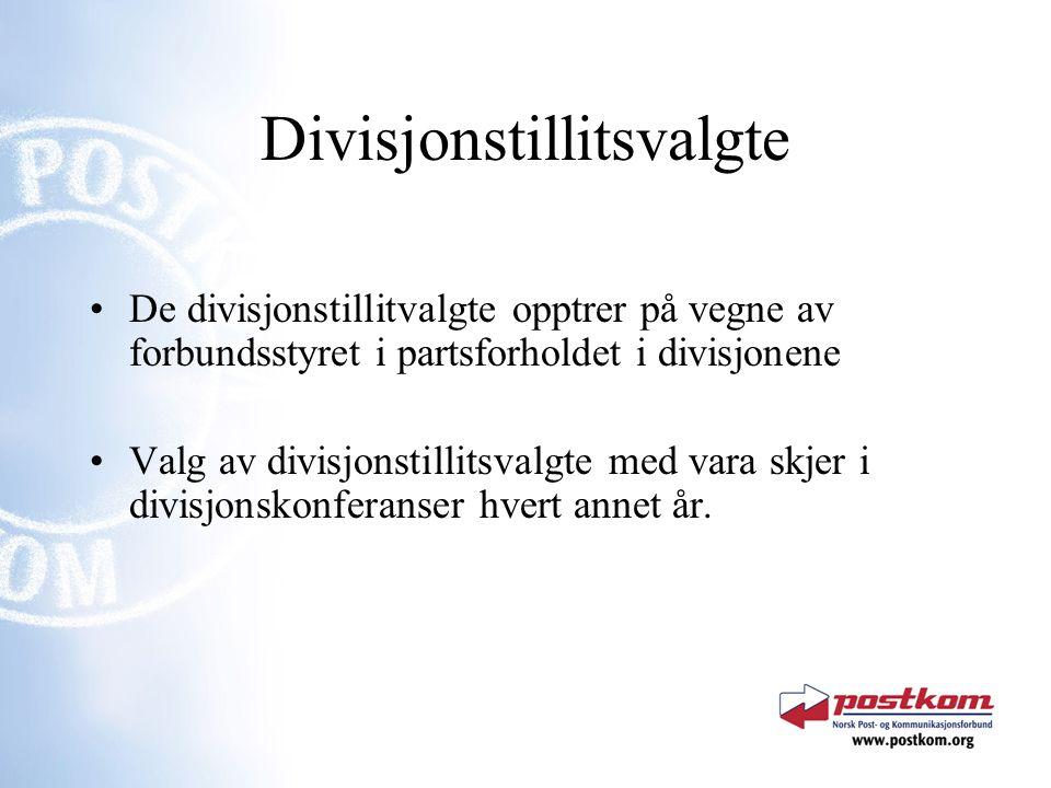 Divisjonstillitsvalgte De divisjonstillitvalgte opptrer på vegne av forbundsstyret i partsforholdet i divisjonene Valg av divisjonstillitsvalgte med vara skjer i divisjonskonferanser hvert annet år.