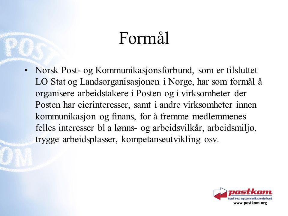 Formål Norsk Post- og Kommunikasjonsforbund, som er tilsluttet LO Stat og Landsorganisasjonen i Norge, har som formål å organisere arbeidstakere i Pos