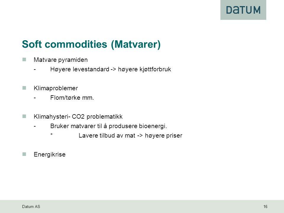 Datum AS 16 Soft commodities (Matvarer) Matvare pyramiden -Høyere levestandard -> høyere kjøttforbruk Klimaproblemer -Flom/tørke mm.