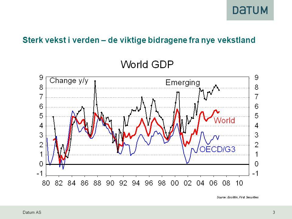 Datum AS 3 Sterk vekst i verden – de viktige bidragene fra nye vekstland