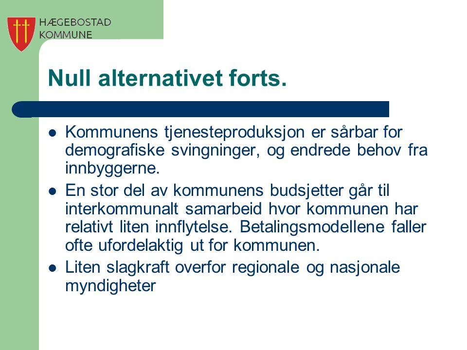 Null alternativet forts. Kommunens tjenesteproduksjon er sårbar for demografiske svingninger, og endrede behov fra innbyggerne. En stor del av kommune