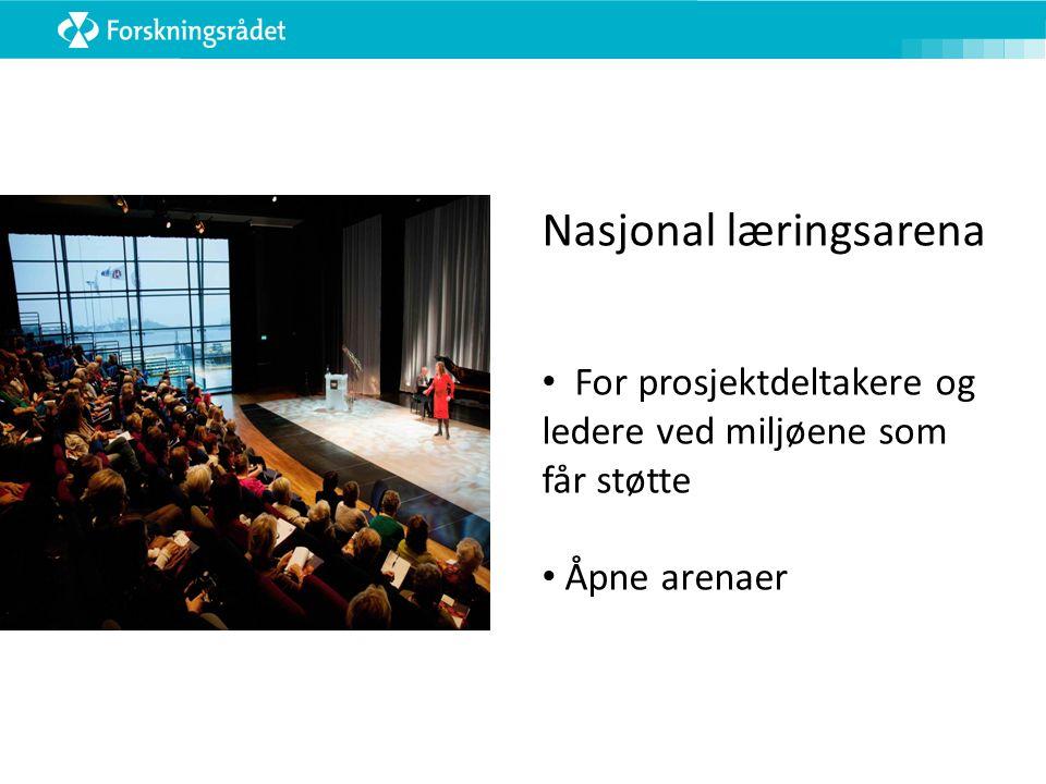 Nasjonal læringsarena For prosjektdeltakere og ledere ved miljøene som får støtte Åpne arenaer