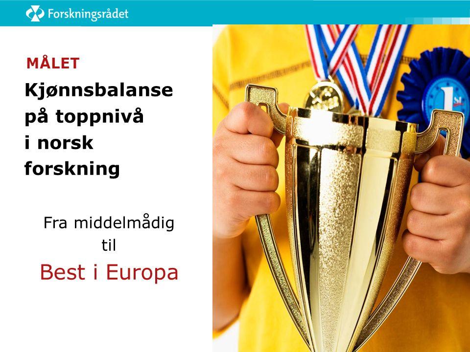 MÅLET Kjønnsbalanse på toppnivå i norsk forskning Fra middelmådig til Best i Europa