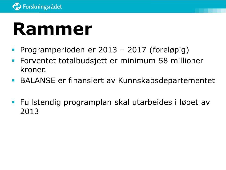 Rammer  Programperioden er 2013 – 2017 (foreløpig)  Forventet totalbudsjett er minimum 58 millioner kroner.  BALANSE er finansiert av Kunnskapsdepa