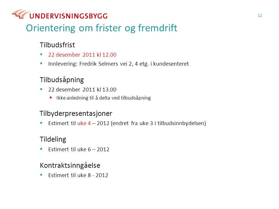 Orientering om frister og fremdrift Tilbudsfrist  22 desember 2011 kl 12.00  Innlevering: Fredrik Selmers vei 2, 4 etg.