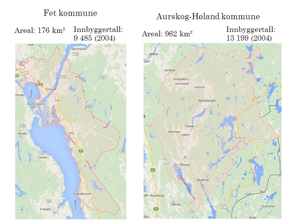 Skedsmo kommune Areal: 77 km² Innbyggertall: 50 724 (2013) Det vil si at Aurskog- Høland, Fet og Skedsmo som en stor kommune vil bli: 1 215 km² og innbyggertallet vil ligge på om lag 73 408.