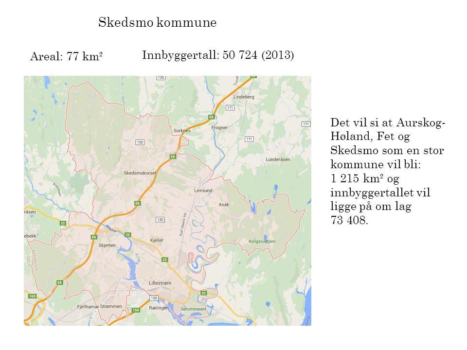 Skedsmo kommune Areal: 77 km² Innbyggertall: 50 724 (2013) Det vil si at Aurskog- Høland, Fet og Skedsmo som en stor kommune vil bli: 1 215 km² og inn