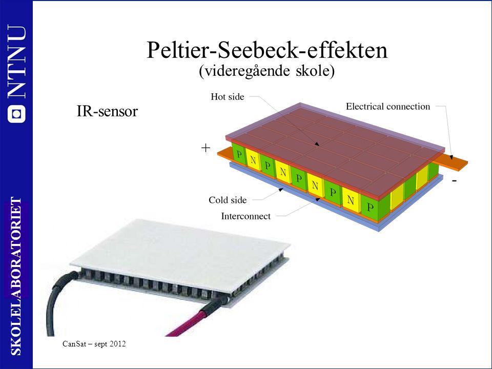 29 SKOLELABORATORIET Peltier-Seebeck-effekten (videregående skole) CanSat – sept 2012 + - IR-sensor