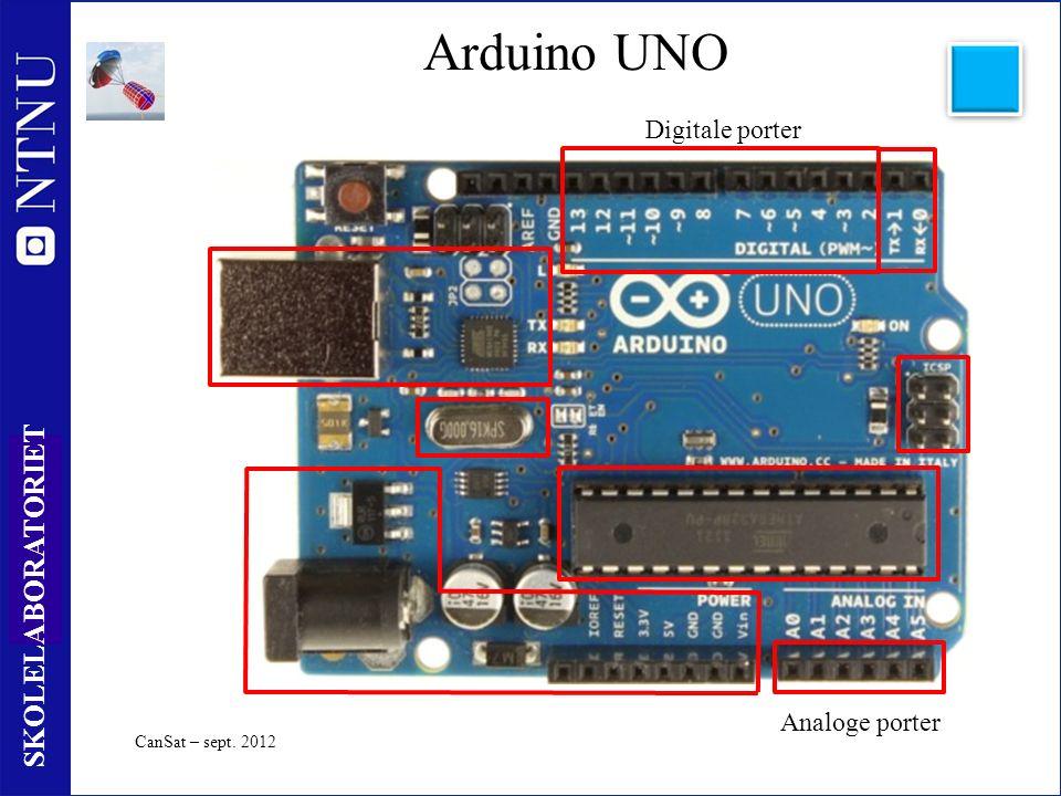 4 SKOLELABORATORIET Arduino UNO CanSat – sept. 2012 Digitale porter Analoge porter