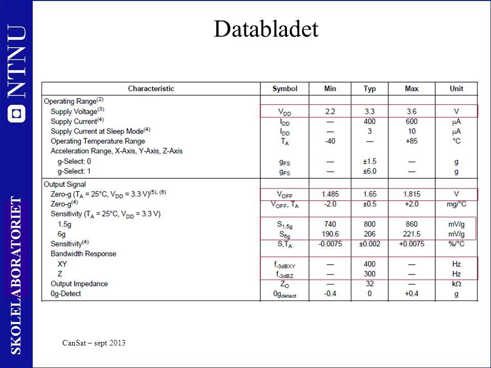 41 SKOLELABORATORIET Databladet CanSat – sept 2013