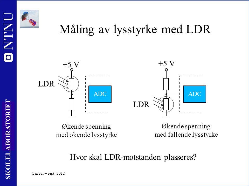 46 SKOLELABORATORIET Måling av lysstyrke med LDR Økende spenning med økende lysstyrke +5 V ADC Økende spenning med fallende lysstyrke ADC +5 V Hvor skal LDR-motstanden plasseres.