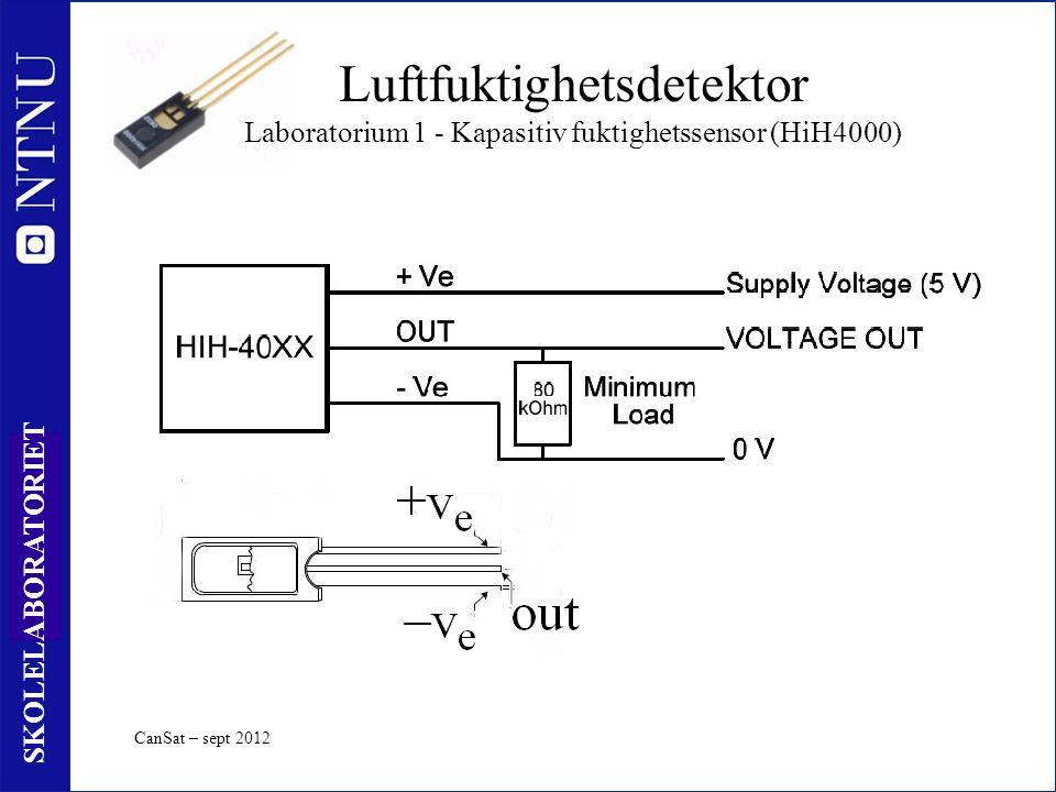 62 SKOLELABORATORIET CanSat – sept 2012 Luftfuktighetsdetektor Laboratorium 1 - Kapasitiv fuktighetssensor (HiH4000)